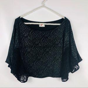 FREE PEOPLE   Black Lace Cape XS